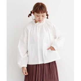 メルロー フリルネックビッグポケットブラウス レディース オフホワイト FREE 【merlot】