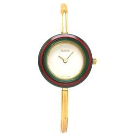 GUCCI グッチ チェンジベゼル ホワイト文字盤 GP ゴールドメッキ レディース QZ クォーツ 腕時計 1100L (中古) (u)