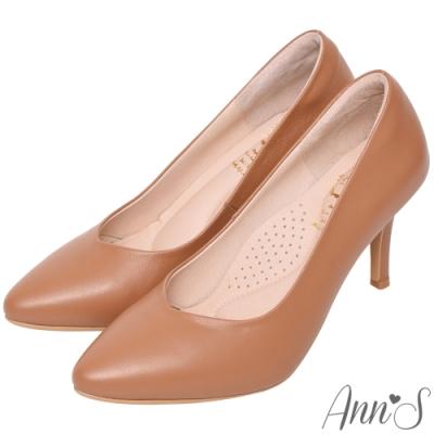 Ann'S  舒適療癒系 V型美腿綿羊皮尖頭跟鞋 棕