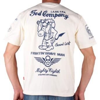 TEDMAN'S(テッドマン) エフ商会 半袖Tシャツ〔RED DEVIL 8th AIR FORCE 英字ロゴ 刺繍〕TDSS-497 オフホワイト 白 バイカー アメカジ ミリタリー 2019年夏モデル (L)