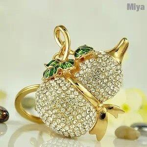 金色聚寶葫蘆水鑽包包掛飾鑰匙圈釦