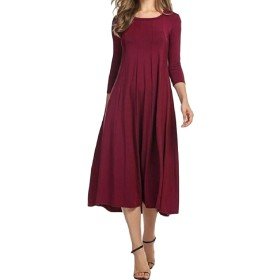 Tootess 女性の3 / 4スリーブクルーネック純粋カラーラウンジボールガウンロングドレス Wine Red L