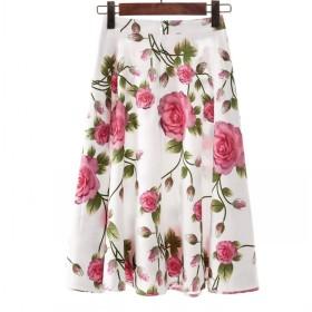 [美しいです】ロングスカートデジタルプリントプリーツスカートスカートスカートスカート女性スカート (S, 花16)