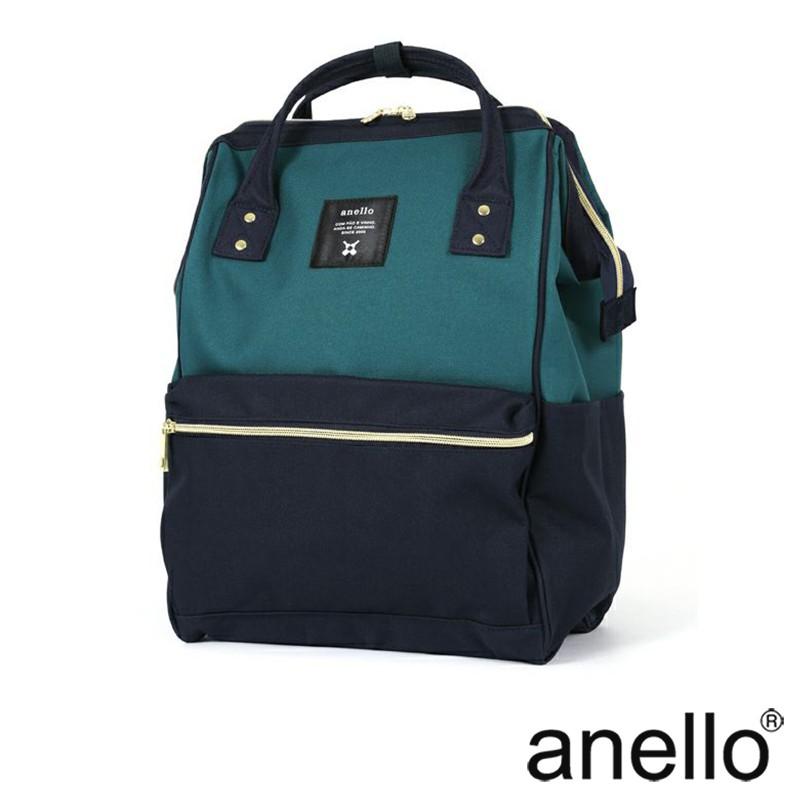 anello 經典口金後背包 湖綠x深藍 Regular尺寸(AT-B0193A-B/N)