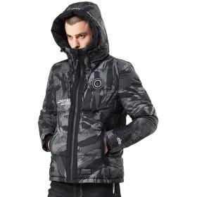 迷彩ジャケット ダウンコート メンズ グレー フード付き ジップアップ 中綿ダウン 防寒 4l 大きいサイズ 柔らかい ウインドブレーカー ジャンパー カジュアル 棉服 冬物 アウトドアウェア 冬用