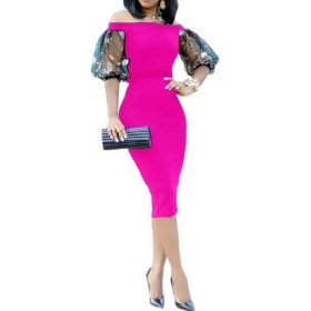 Beeatree 女性オフショアワークオフィス半袖フィットミディロングドレス Pink M