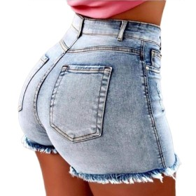 Qiangjinjiu Women's Vintage Mini Jeans High Waist Ripped Raw Hem Denim Jean Shorts 2 2XL