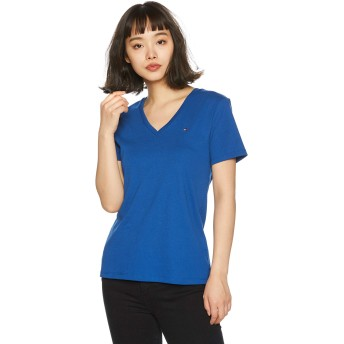 (トミーヒルフィガー) TOMMY HILFIGER ベーシック Vネック Tシャツ WW0WW18474 (S, ブルー)