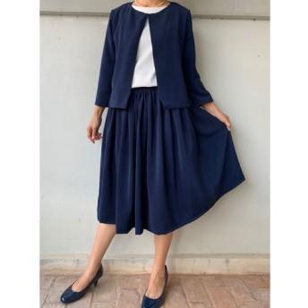 紺色 フレアギャザースカートとジャケット 入学式 フォーマル セットアップ スーツ