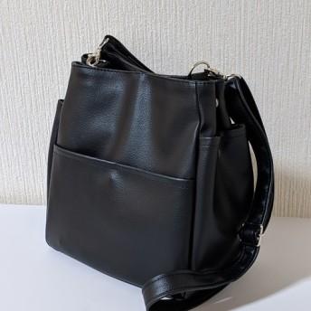 ブラックレザー(pvc)ポケットいっぱい ショルダーバッグ