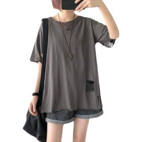 YiTongレディース シンプル tシャツ カットソー パーカー 夏 薄手 tシャツ トップスグレー