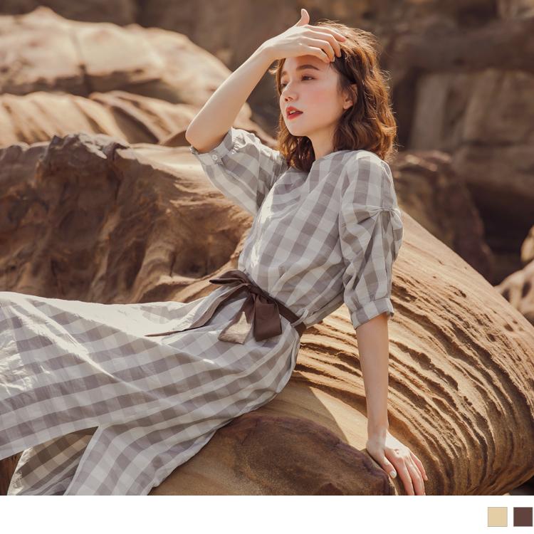 文藝格紋撞色腰帶袖皺褶開衩下襬五分袖洋裝