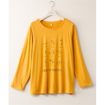 綿100% ねこさん運動Tシャツ【bi abbey】 (大きいサイズレディース)Tシャツ・カットソー
