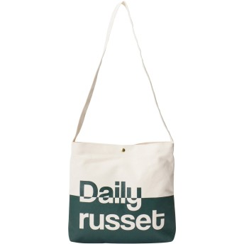Daily russet デイリーラシット ラインロゴキャンバスサコッシュ 大