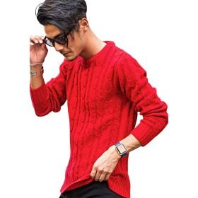 (ビッチ)VICCI メンズ セーター ニット ニットソー クルーネック ストレッチ ケーブル編みVISC15-11 44(M) RED(レッド)【+】