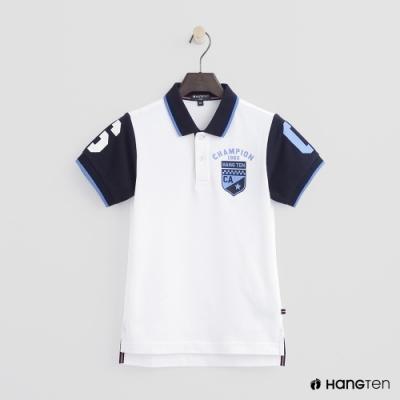 Hang Ten -童裝 - 拼接袖造型POLO衫 - 白