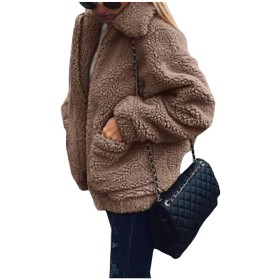 GodeyesW 女性のジャケットの豪華なジップアップ秋秋冬快適なアウターウェア Khaki XL