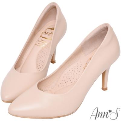 Ann'S  舒適療癒系 V型美腿綿羊皮尖頭跟鞋 粉杏