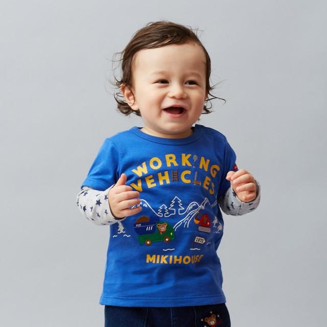 ミキハウス 【アウトレット】働く車 プッチー重ね着風長袖Tシャツ 青