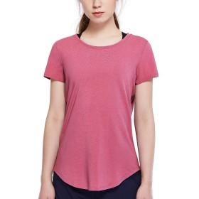 CRZ YOGA レディース ピマ綿 tシャツ 無地 ゆったり 半袖 カットソー トップス スポーツウェア 吸汗速乾 モスローズ M(胸囲88cm、ウエスト67cm)