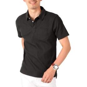 LUX STYLE(ラグスタイル) ポロシャツ メンズ 半袖 ランダムテレコ スキッパー 選べる BブラックL