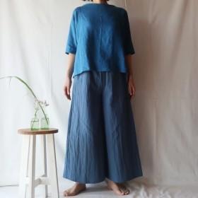 リネン&コットン ポケット付フレアパンツ(フリー/スモーキーブルー)