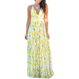 VITryst 女性ボールガウンプリント夏ディープVネックストラップビーチロングドレス Yellow S