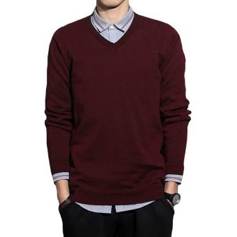 JHIJSC セーター メンズ vネック ニット セーター 秋冬 ゆったり 綿 無地 通勤 通学 (ワインレッド, XL)