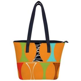 世紀半ばのモダンなオレンジ色の模様ハンドバッグレディースショルダーバッグレザーハンドバッグ大容量軽量ハンドバッグ旅行学校通勤ショッピングファッションショルダーバッグ