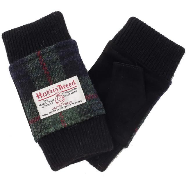 【ハリスツイード】HARRIS TWEED レディース アームウォーマー 手袋 AY-16AA0017 (グリーン x ブラック)