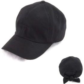 EVS3-008BK バックリボン 帽子 cap 無地 スウェット コットン 綿麻 女子 アウトドア 紫外線対策 uvケア 春夏 カジュアル 可愛い キッズサイズ, A) ブラック(コットン)