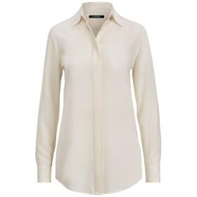 《セール開催中》LAUREN RALPH LAUREN レディース シャツ ホワイト XS シルク(マルベリーシルク) 100% SILK LONG SLEEVE SHIRT