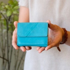 Soft Leather Mini Wallet / TURQUOISE BLUE ミニ財布小さいお財布革財布