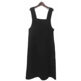 【中古】美品 ATELIER DOREE アトリエドール シンプル ノースリーブ ワンピース ジャンパースカート ブラック