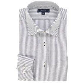 【TAKA-Q:トップス】形態安定レギュラーフィット ワイドカラー長袖ビジネスドレスシャツ/ワイシャツ