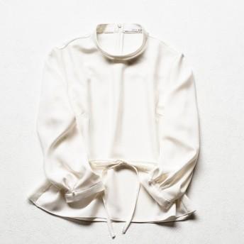【ジョリーミニョン】スタンドカラー ウエストリボン パフスリーブブラウス(オフホワイト)【日本製】【送料無料】