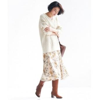自由区 / ジユウク 【マガジン掲載】サテンフラワープリントスカート(検索番号R43)