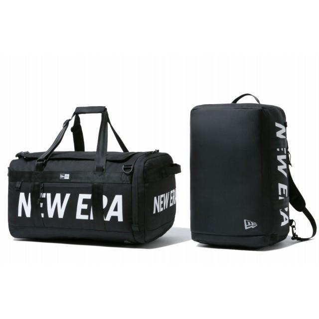 NEW ERA ニューエラ クラブ ダッフルバッグ 50L 2ウェイ プリントロゴ ブラック × ホワイト ドラムバッグ ダッフルバッグ 大容量 PC収納 バッグ メンズ レディース ワンサイズ 12108749 NEWERA