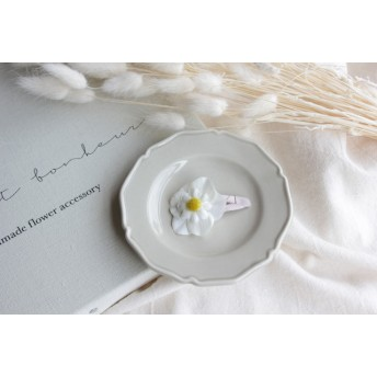 floral hair pin -camomile white-