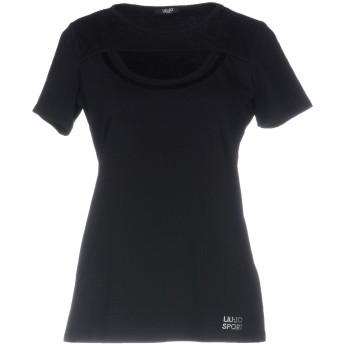 《9/20まで! 限定セール開催中》LIU JO レディース T シャツ ブラック S コットン 95% / ポリウレタン 5%