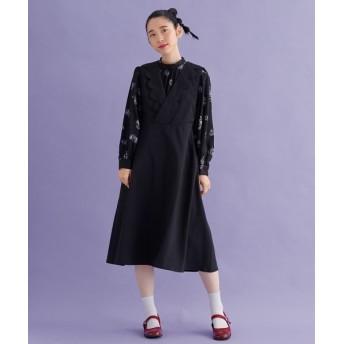 メルロー スカラップカシュクール襟ワンピース レディース ブラック FREE 【merlot】