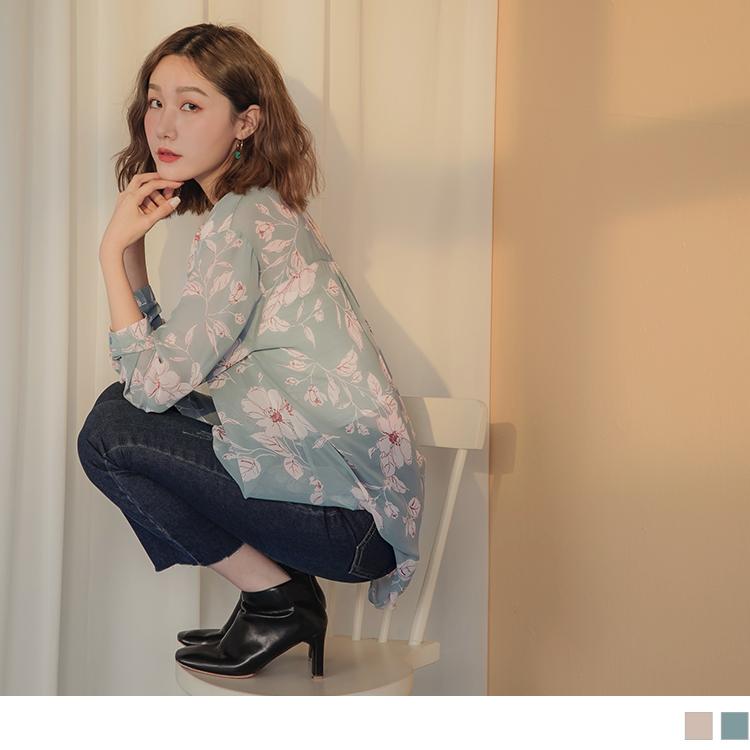 滿版素描手繪線條配色印花微透膚長袖長版襯衫