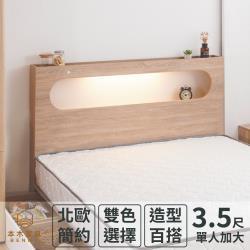 本木 洛根 北歐燈光插座橢圓造型床頭-單人加大3.5尺