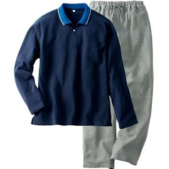 50%OFF【レディース】 衿つきパジャマ(男女兼用) - セシール ■カラー:ネイビー系 ■サイズ:S