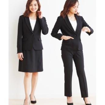 小さいサイズ 洗えるストレッチ3点セットスーツ(ジャケット+パンツ+スカート) 【小さいサイズ・小柄・プチ】オフィススーツ, Women's Suits