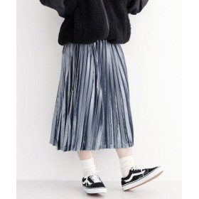 (merlot/メルロー)プリーツベロアスカート/レディース グレー