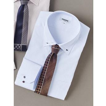 【TAKA-Q:トップス】イージーケア レギュラーフィット 3枚衿ボタンダウン長袖ビジネスドレスシャツ/ワイシャツ