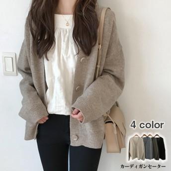 韓国 ゆったり カーディガンセーター コート 韓国ファッション ニット 4 color