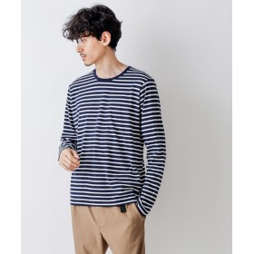 Discoat(ディスコート) メンズ ボーダークルーネックロングスリーブTシャツ ネイビー