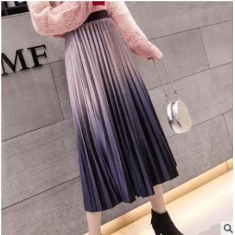 新作!スカート ボトムス プリーツスカート ロングスカート 大人可愛い 美脚 ベルベットスカート 無地 ウエストゴム 韓国ファッション
